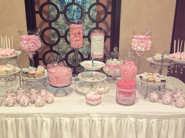 Pastel and Pearls themed Bridal Shower Dessert Station